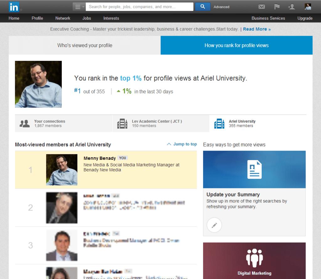 How Menny Benady rank in LinkedIn