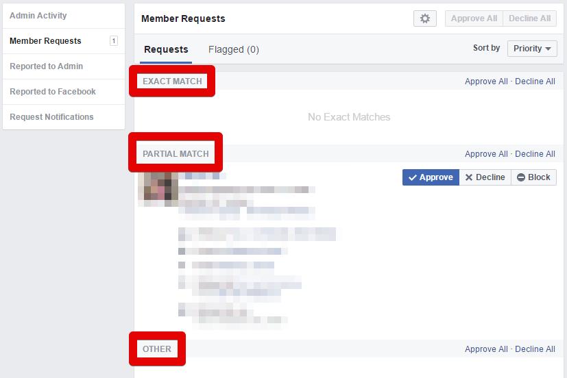 קטגוריות מיון מצטרפים לקבוצות פייסבוק